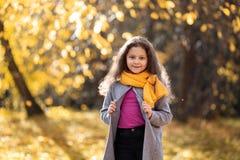 Una muchacha feliz está caminando en el bosque del otoño imagen de archivo