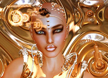 Una muchacha futurista del robot en oro Imagen de archivo libre de regalías