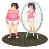 Una muchacha gorda y su versión delgada en el espejo stock de ilustración
