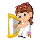 Una muchacha hermosa con el pelo marrón largo que toca la arpa stock de ilustración