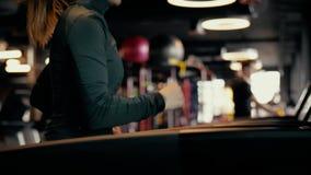Una muchacha hermosa con las piernas largas que corren en una rueda de ardilla en un club de fitness metrajes