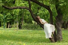 Una muchacha hermosa en un vestido blanco largo se inclina contra una rama de árbol en un parque del verano Foto de archivo libre de regalías