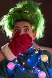 Una muchacha hermosa en un vestido rosado con el pelo verde se adornó con las guirnaldas de la Navidad Su pelo es como un árbol d Fotografía de archivo libre de regalías