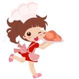 Una muchacha linda de la cocina ilustración del vector