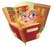 Una muchacha linda en biblioteca Imágenes de archivo libres de regalías