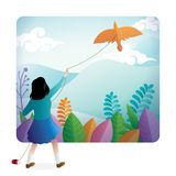 Una muchacha linda que juega la cometa al aire libre con un paisaje hermoso en el fondo ilustración del vector
