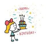 Una muchacha lleva una torta con tres velas Feliz cumpleaños libre illustration