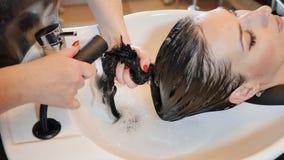 Una muchacha morena con el pelo largo visita un salón de belleza Lavado del pelo almacen de metraje de vídeo