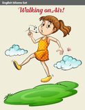 Una muchacha que camina en el aire ilustración del vector