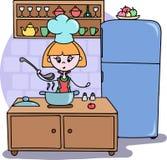 Una muchacha que cocina la cena en el ejemplo de la historieta del vector de la cocina Fotos de archivo libres de regalías