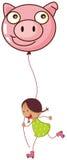 Una muchacha que juega con sus rodillos mientras que sostiene un globo del cerdo Imágenes de archivo libres de regalías