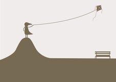 Una muchacha que juega la cometa, fondos solos ilustración del vector