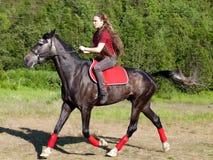 Una muchacha que monta un caballo Imágenes de archivo libres de regalías