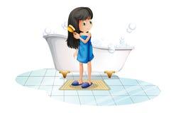 Una muchacha que se peina el pelo negro largo stock de ilustración