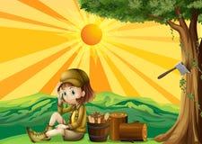 Una muchacha que se sienta al lado del bosque tajado stock de ilustración
