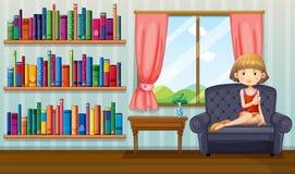 Una muchacha que se sienta en un sofá que sostiene un libro dentro de la casa ilustración del vector