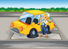 Una muchacha que sostiene una herramienta al lado de un coche con una rueda plana libre illustration