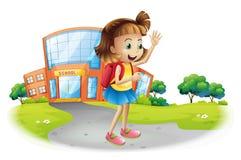 Una muchacha que va a casa de escuela stock de ilustración
