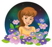 Una muchacha rodeada por las flores Imagen de archivo