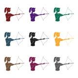 Una muchacha se coloca en perfil y lleva a cabo el arco Tirar un arco en una blanco el active se divierte el solo icono en vector Foto de archivo libre de regalías