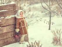 Una muchacha se coloca en una cerca en el invierno Fotografía de archivo