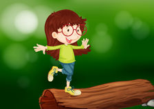 Una muchacha sobre la madera Fotografía de archivo