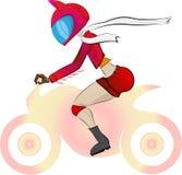 Una muchacha, un motorista en una chaqueta roja y shertas, llevando un casco con los oídos, y llevando una bufanda blanca stock de ilustración