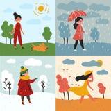 Una muchacha y cuatro estaciones y tiempos Nevado, lluvioso foto de archivo