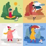 Una muchacha y cuatro estaciones y tiempos Nevado, lluvioso imagen de archivo libre de regalías