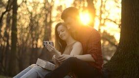 Una muchacha y un individuo están descansando en el parque, besándose, abrazo, riendo en el Sunse almacen de metraje de vídeo