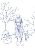Una muchacha y un muñeco de nieve Fotos de archivo libres de regalías