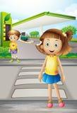 Una muchacha y un muchacho en el camino Fotografía de archivo libre de regalías