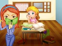 Una muchacha y un profesor en sala de clase Imagen de archivo