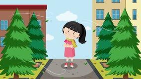 Una muchacha y un viento frío libre illustration