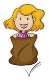 Una muchacha y una arpillera Imagen de archivo libre de regalías
