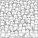 Una muchedumbre de gatos en estilo del garabato en el fondo blanco Vector de diversos gatos del ejemplo ilustración del vector
