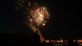 Una muchedumbre de gente mira los fuegos artificiales coloridos y celebra almacen de metraje de vídeo
