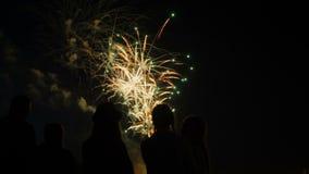 Una muchedumbre de gente mira los fuegos artificiales coloridos y celebra almacen de video