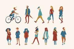 Una muchedumbre de gente vestida en ropa del otoño libre illustration
