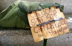 Una muestra de la supervivencia de los panhandlers Foto de archivo libre de regalías