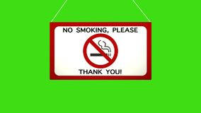 Una muestra del negocio que dice: De no fumadores Caídas animadas y oscilaciones del tablero Pantalla verde cerrada del canal alf ilustración del vector