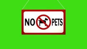 Una muestra del negocio que dice: Ningunos animales domésticos Caídas animadas y oscilaciones del tablero stock de ilustración