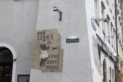 Una muestra en la pared del restaurante Foto de archivo