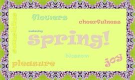 Una muestra que dice la primavera en el marco de la lila Fotografía de archivo