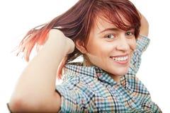 Una mujer adolescente linda alegre feliz Imagen de archivo