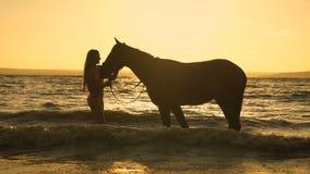 Una mujer atractiva joven rubia hermosa que se coloca al lado de un caballo en un lago almacen de metraje de vídeo