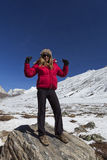 Mujer en el punto cero en Sikkim. Fotografía de archivo