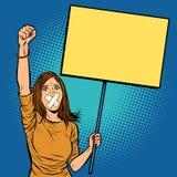 Una mujer con una mordaza en su boca protesta para la libertad de expresión a stock de ilustración