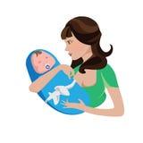 Una mujer con un bebé en sus brazos Fotos de archivo