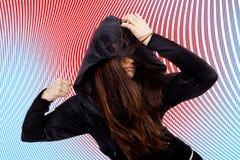 Una mujer con un dolor de cabeza Imagen de archivo libre de regalías